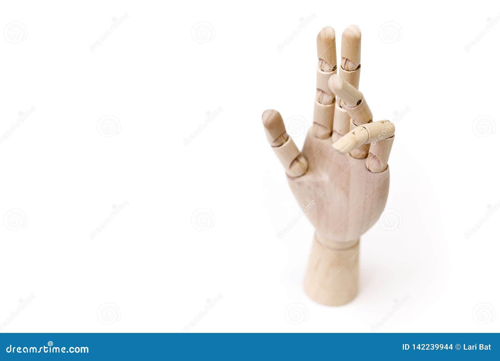 Wooden hands with gesture
