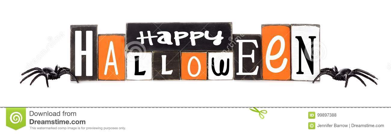Wooden Happy Halloween sign isolated on white