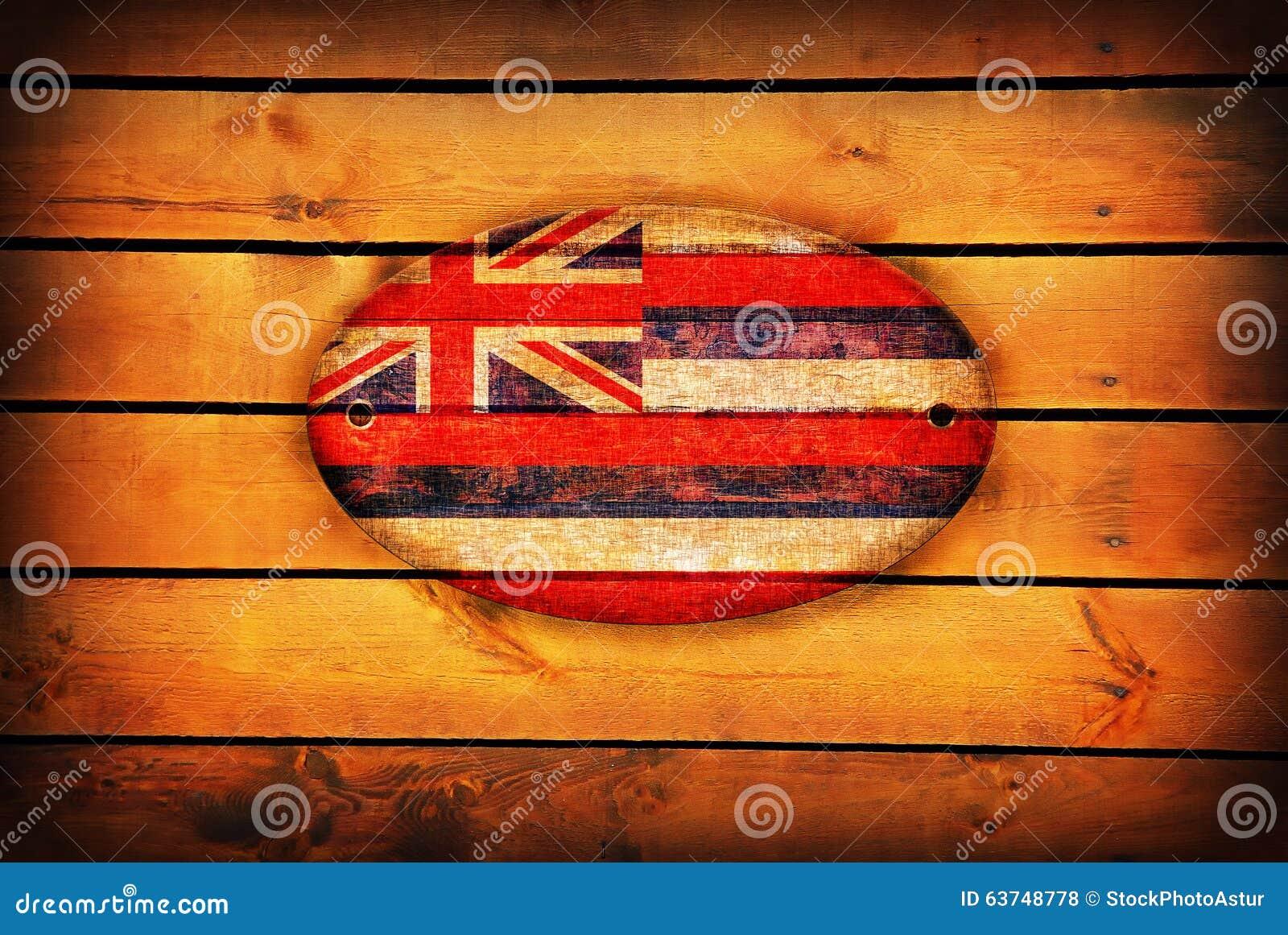 Wooden Hawaii flag.