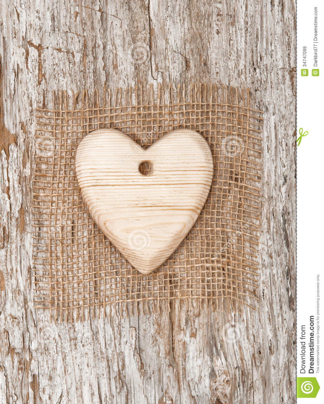 Wooden Heart With Burlap Textile On The Old Wood Stock ...
