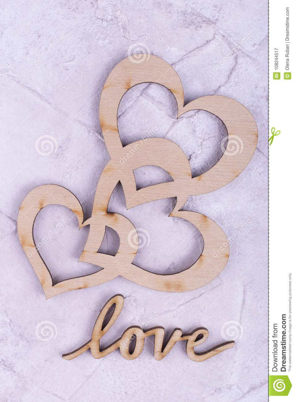 Wooden Hearts And The Word Love Stock Image Image Of Beloved