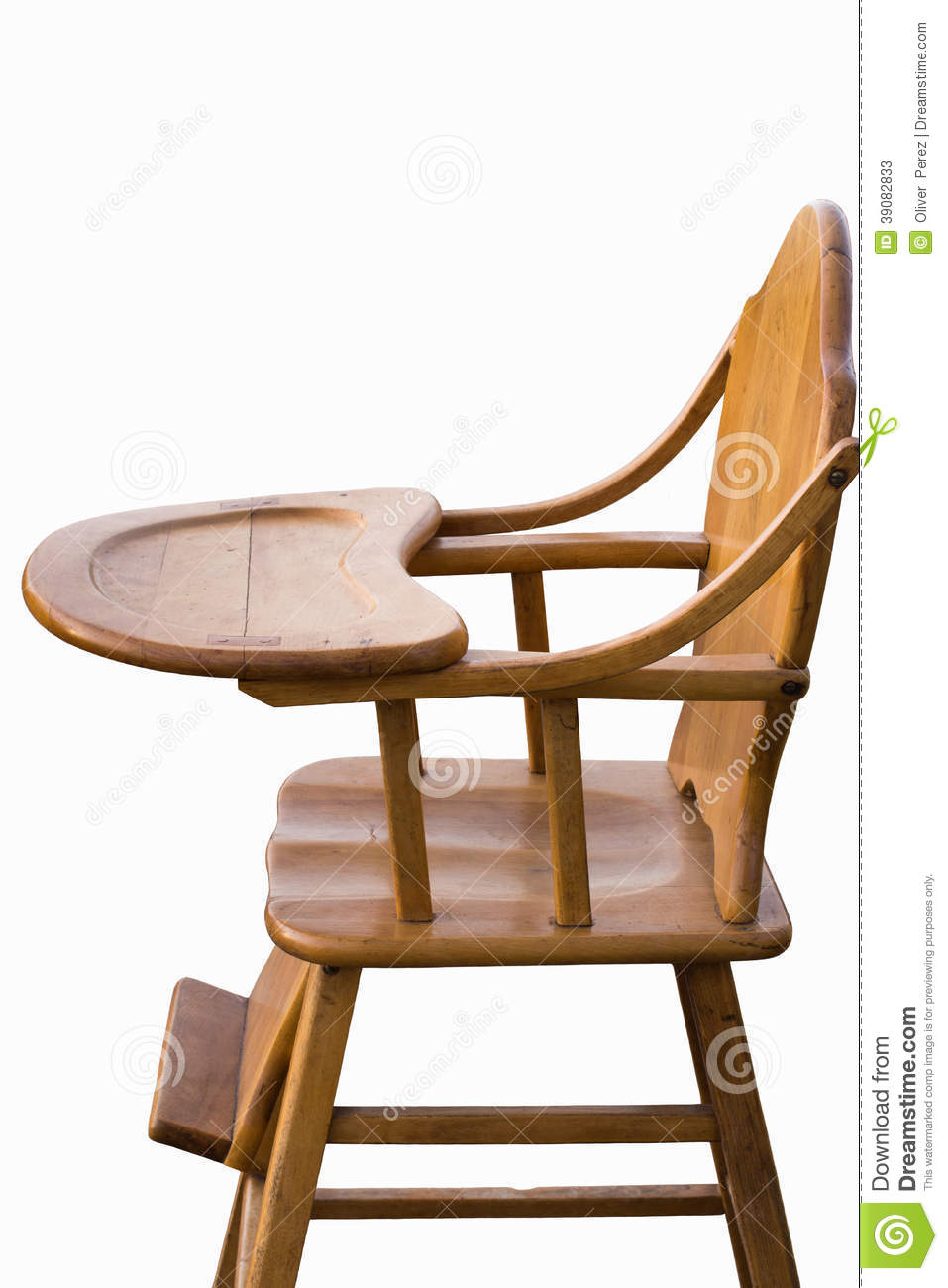 Wooden highchair white background stock image image of for White childrens chair