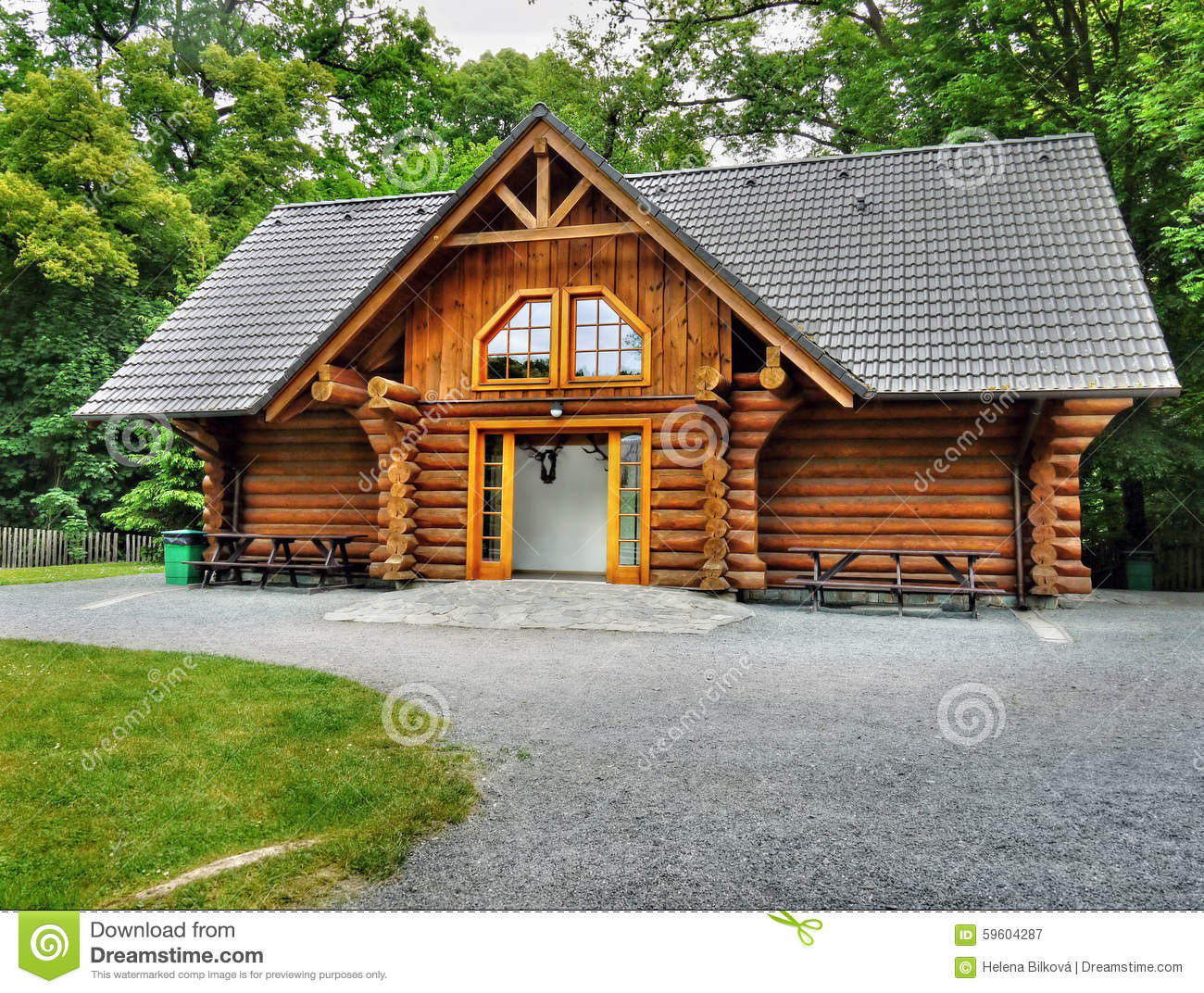 Wooden Holiday Cabin Log House Stock Image Image 59604287