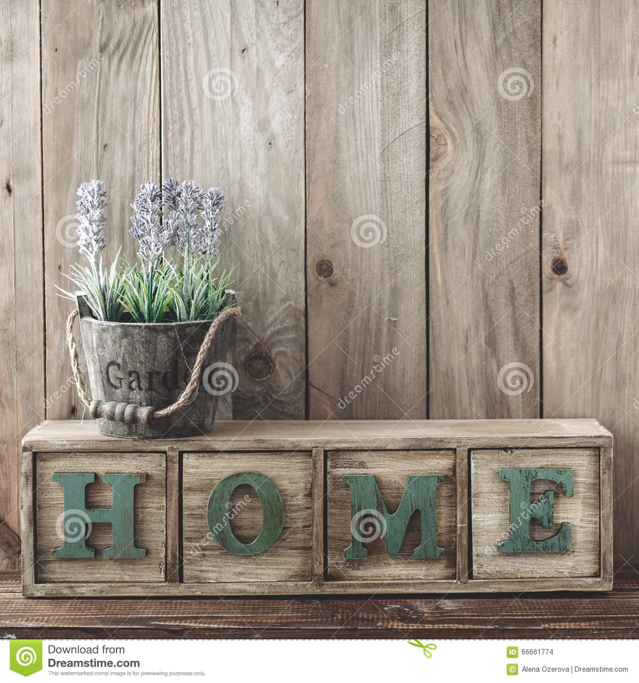Storage Box With Home Lettesr And Flowers In A Pot On Wooden Background Rustic Decor Cottage Living