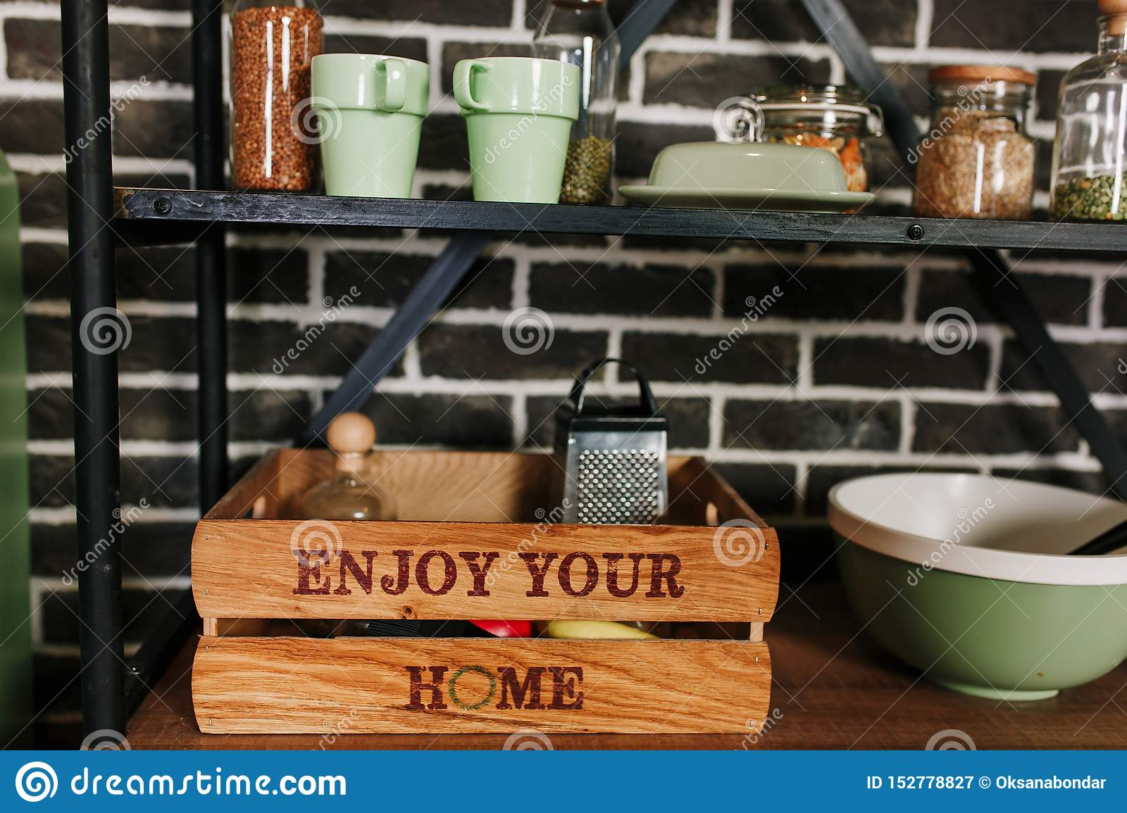 Wooden Home Decor And Storage Box At Modern Kitchen Kitchenware Keeping Stock Image Image Of Firewood Detail 152778827