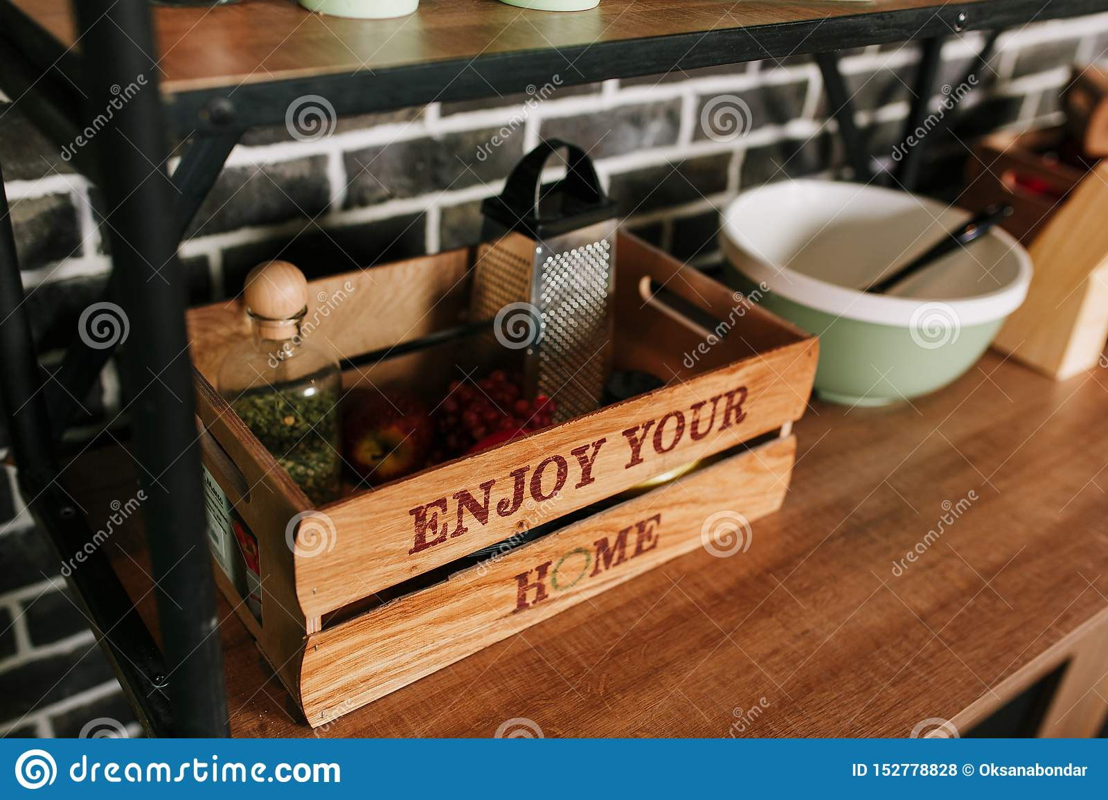 Wooden Home Decor And Storage Box At Modern Kitchen Kitchenware Keeping Stock Photo Image Of House Office 152778828