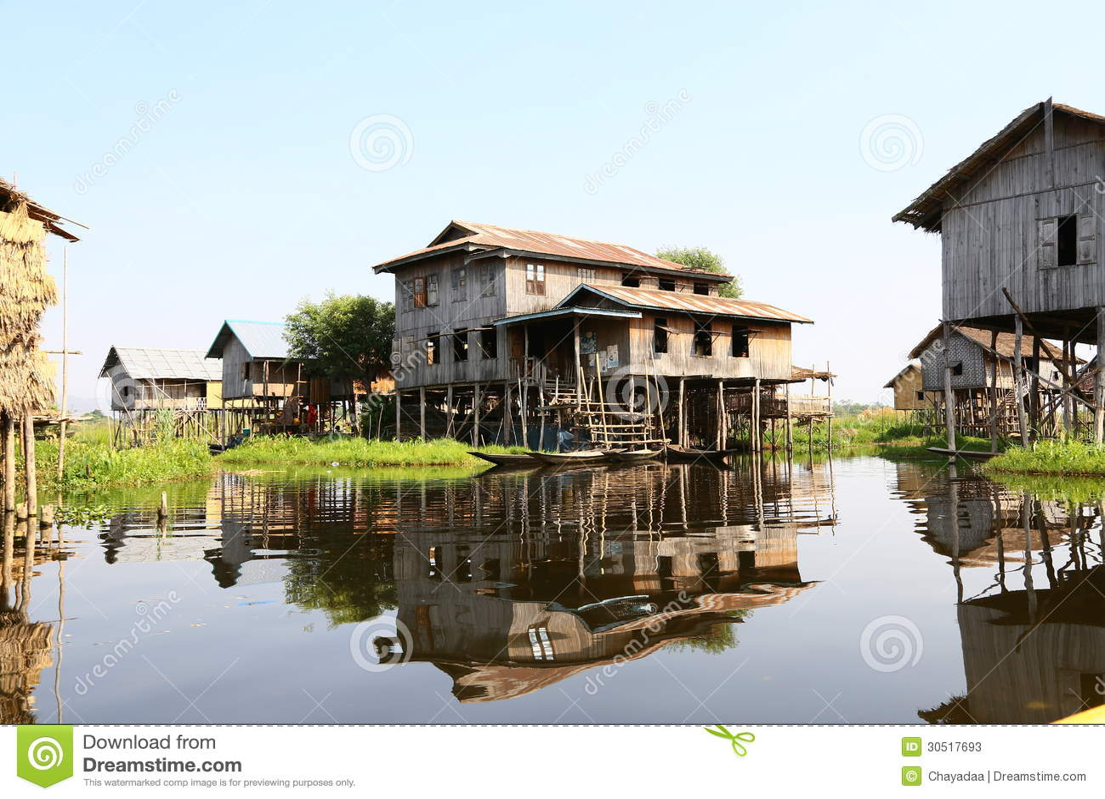 Wooden Home Ywama Village Stock Photos Image 30517693