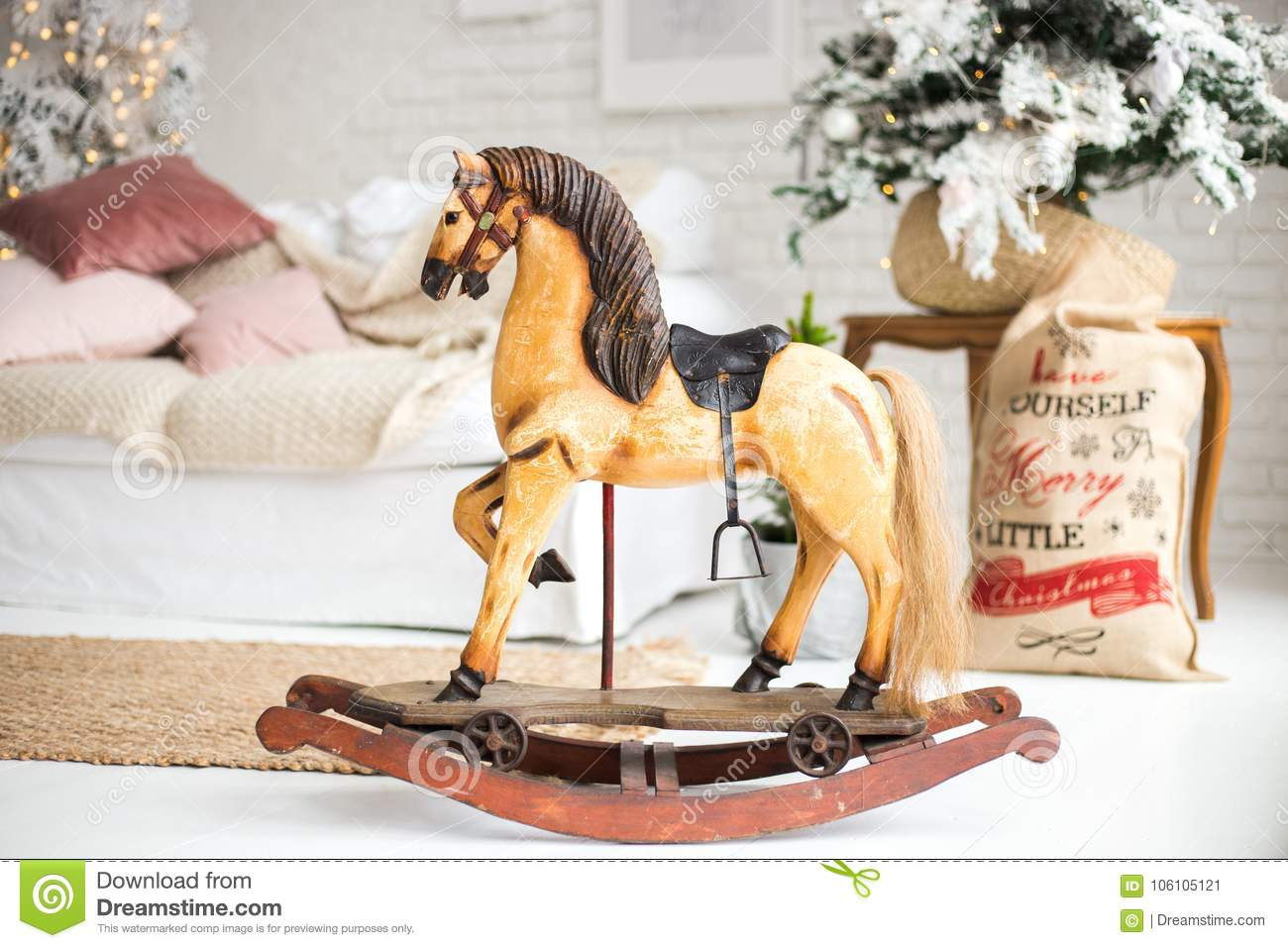 A wooden horse for Christmas. a gift for children.