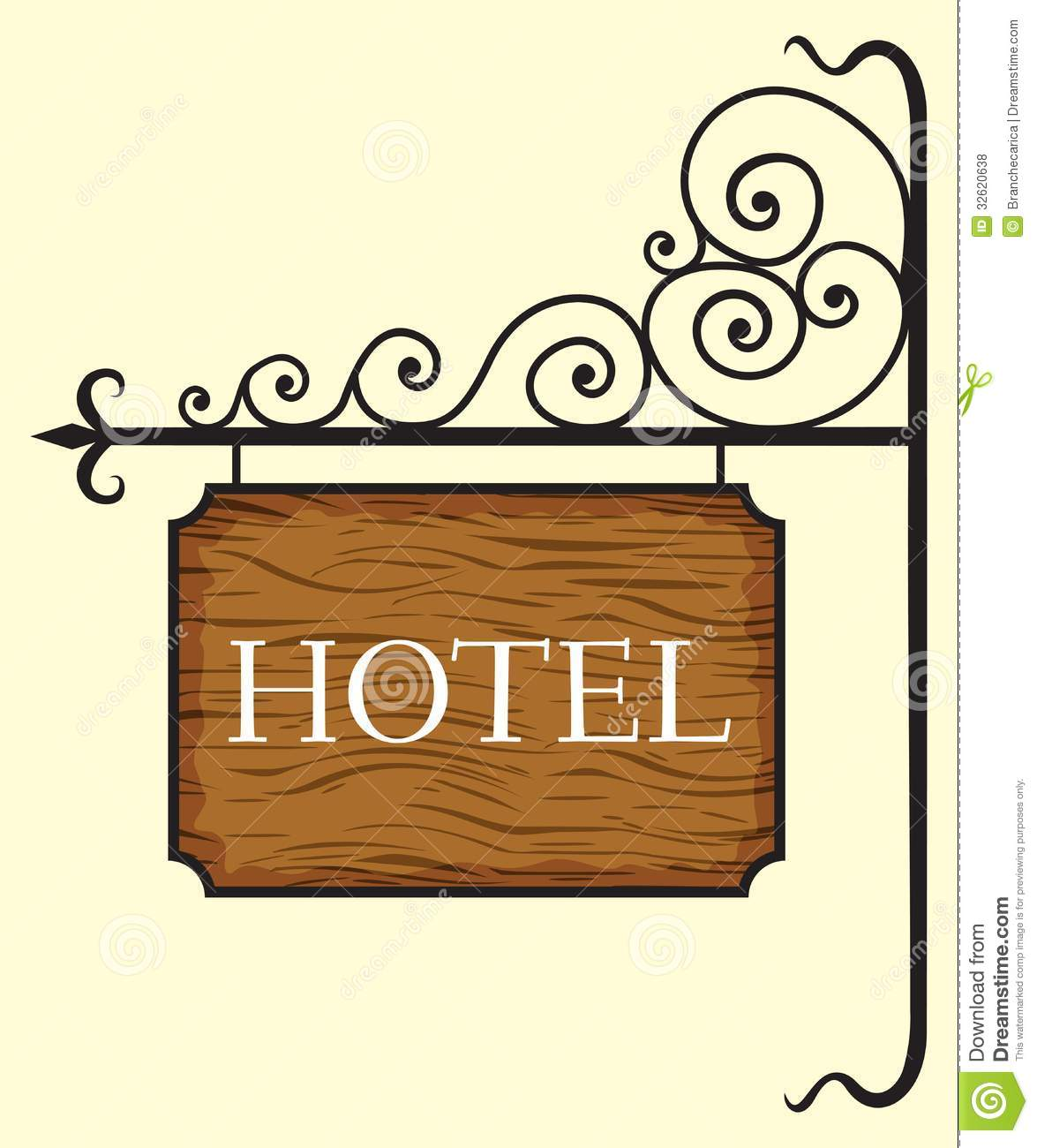 Wooden Hotel Door Sign