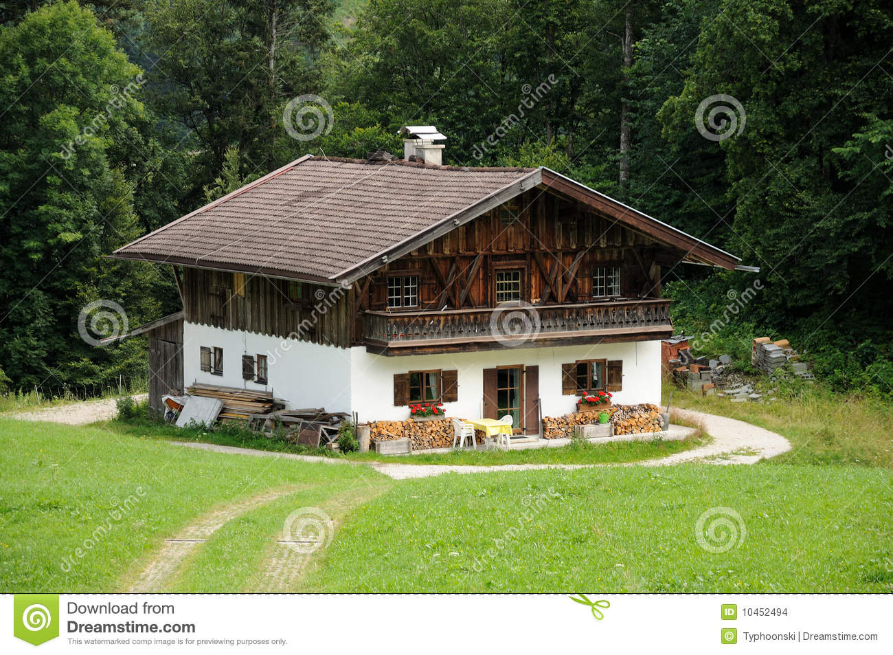 Wooden House In The Alps Stock Photo Image Of Mountains