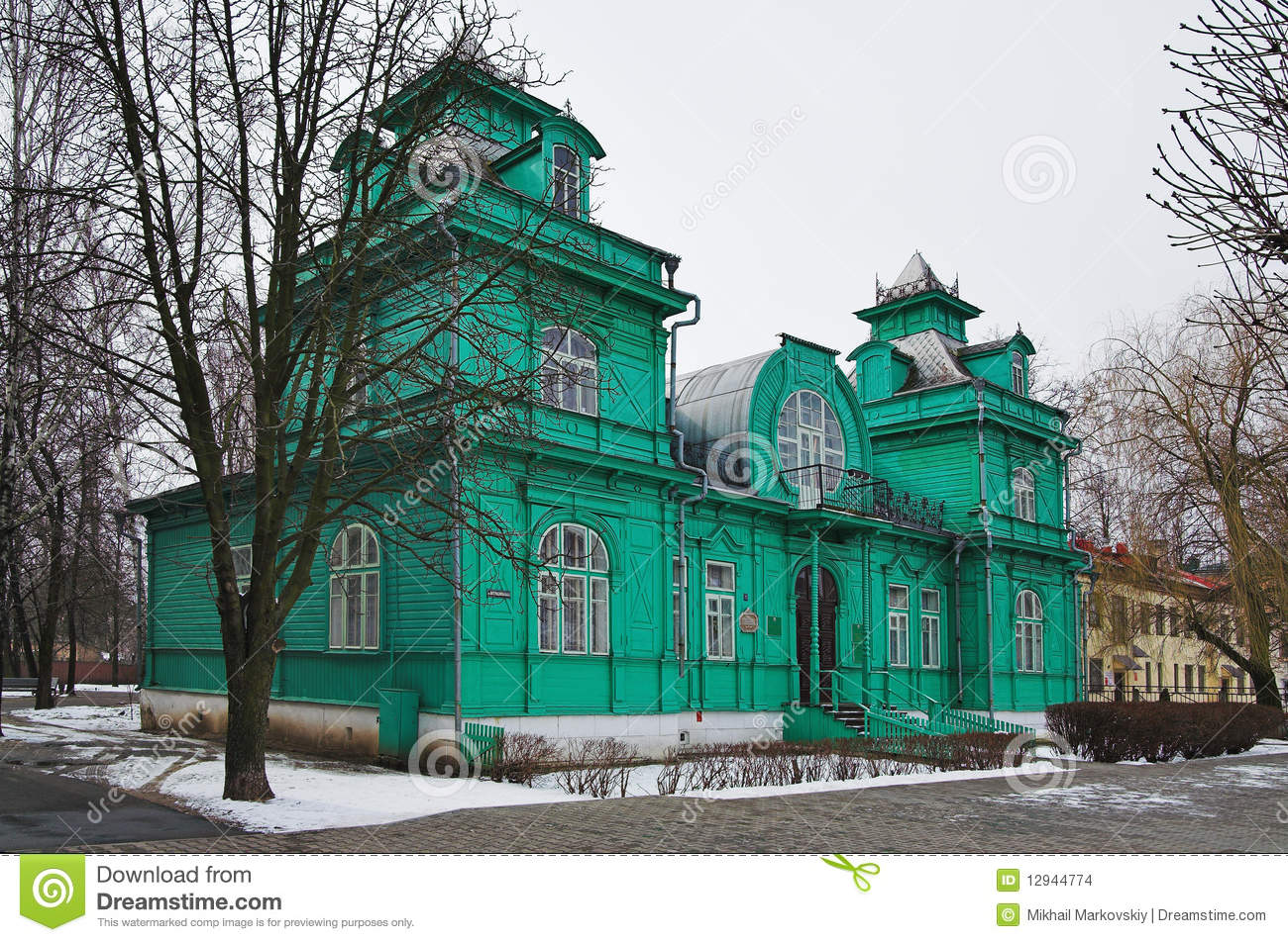 Wooden House In Art Nouveau Style In Bobruisk Stock Photo