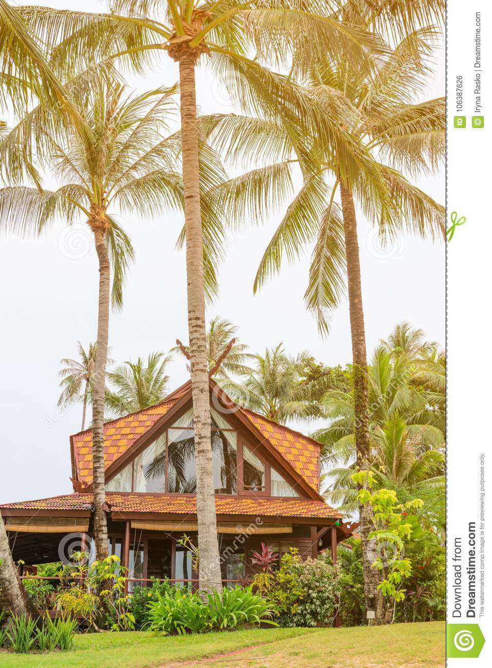 Wooden house in beautiful tropical nature