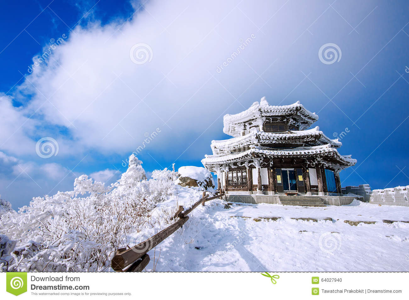 Wooden house is covered by snow in winter, Deogyusan mountains.