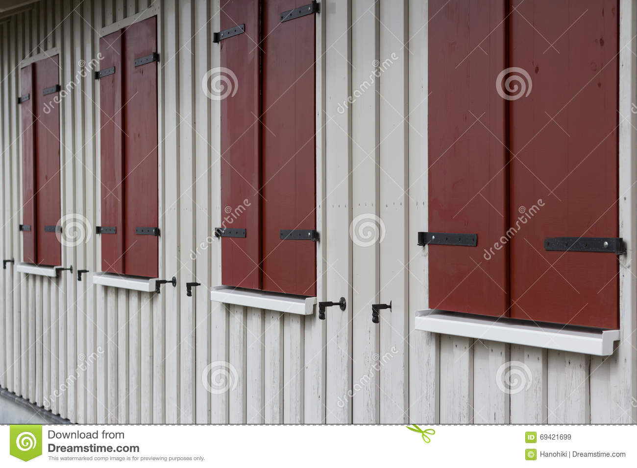 Wooden House Exterior With Closed Window Shutters Stock Image Image Of Closed White 69421699