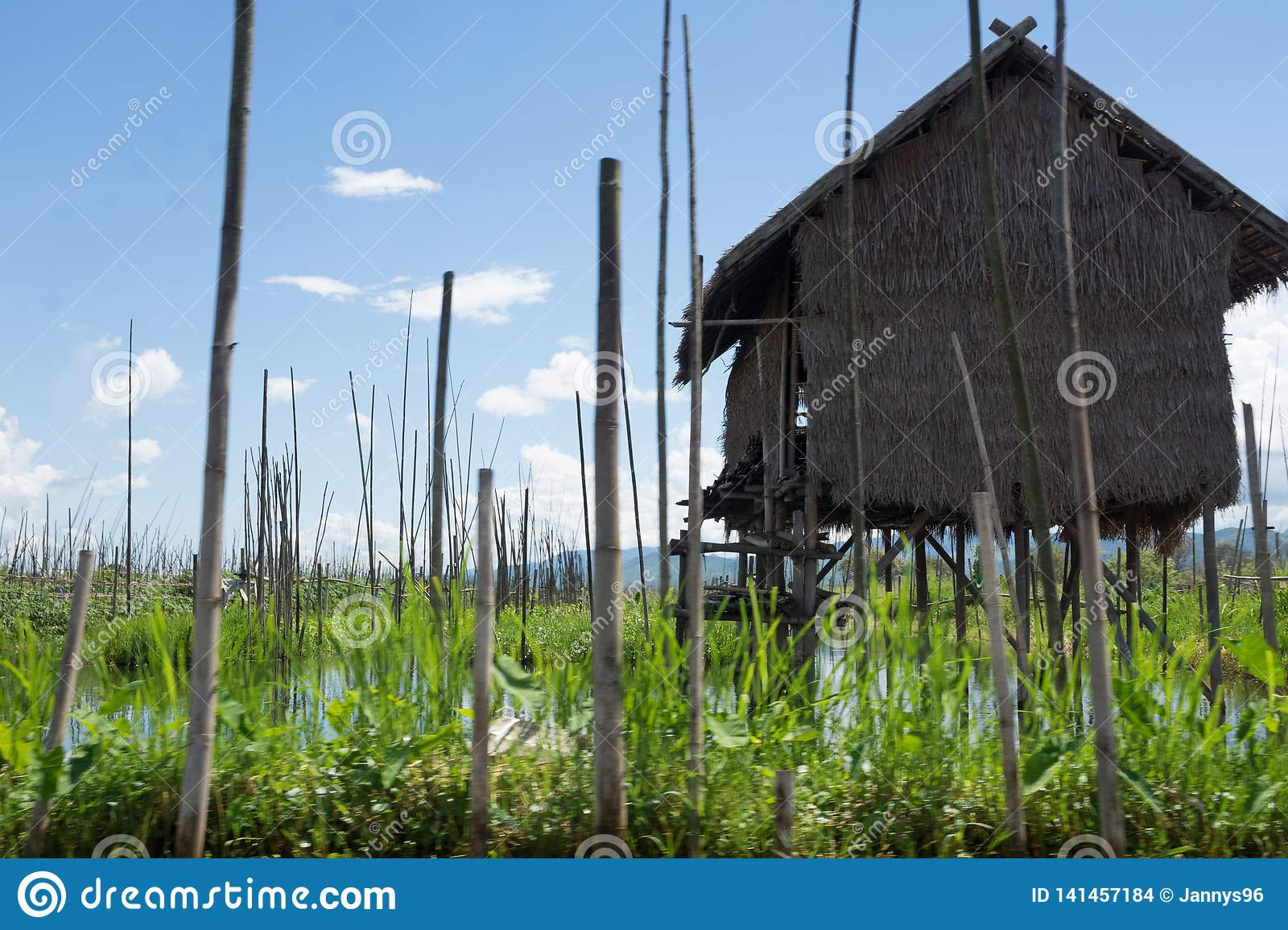 Wooden house on famous inle lake in myanmar