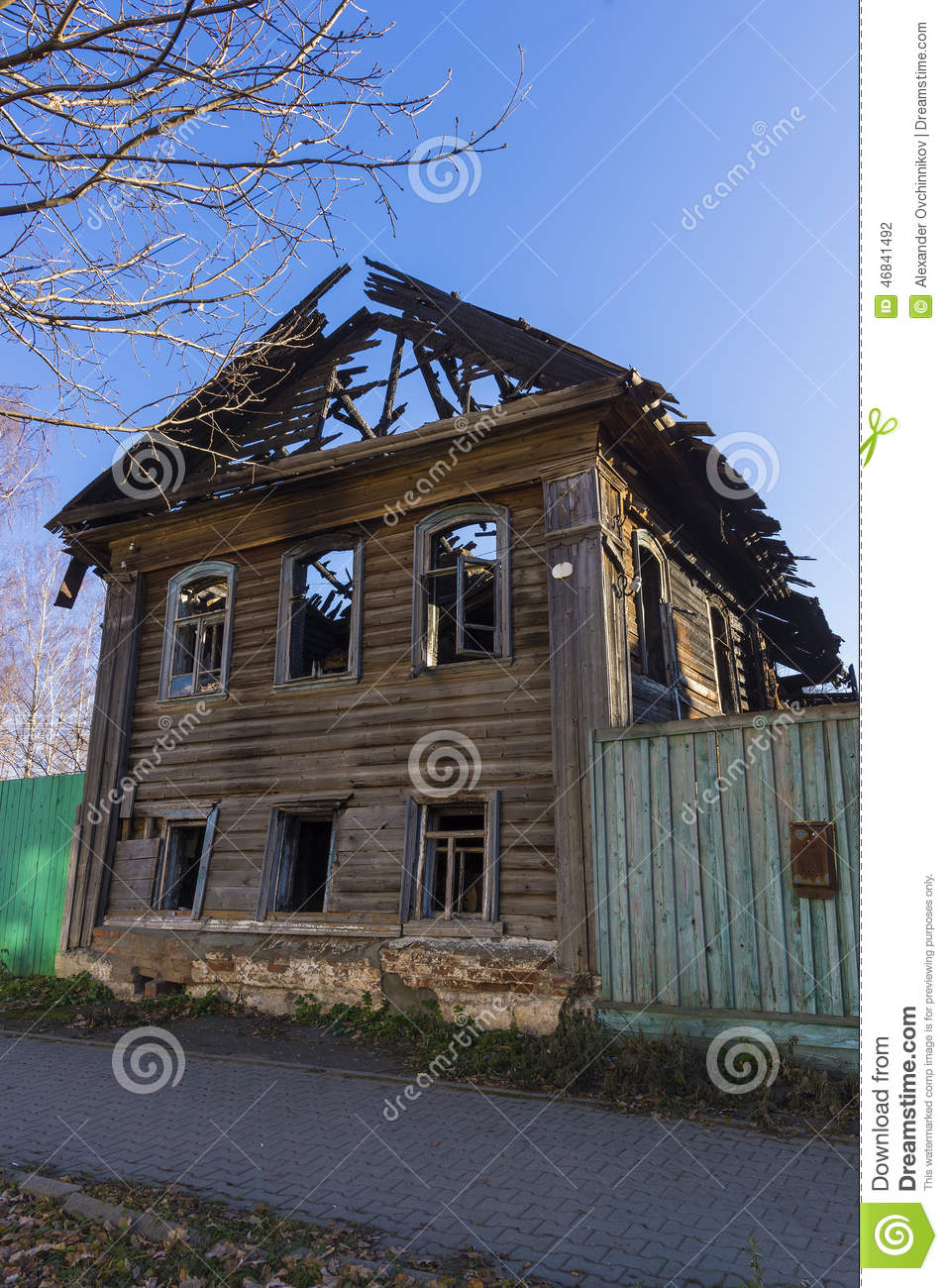 The Wooden House After The Fire Stock Photo