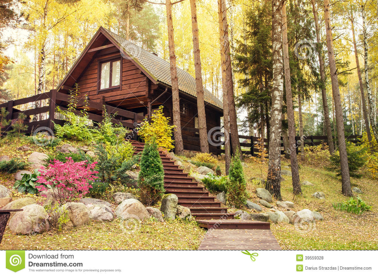 Wooden House In Forest Stock Photo Image Of Pitched