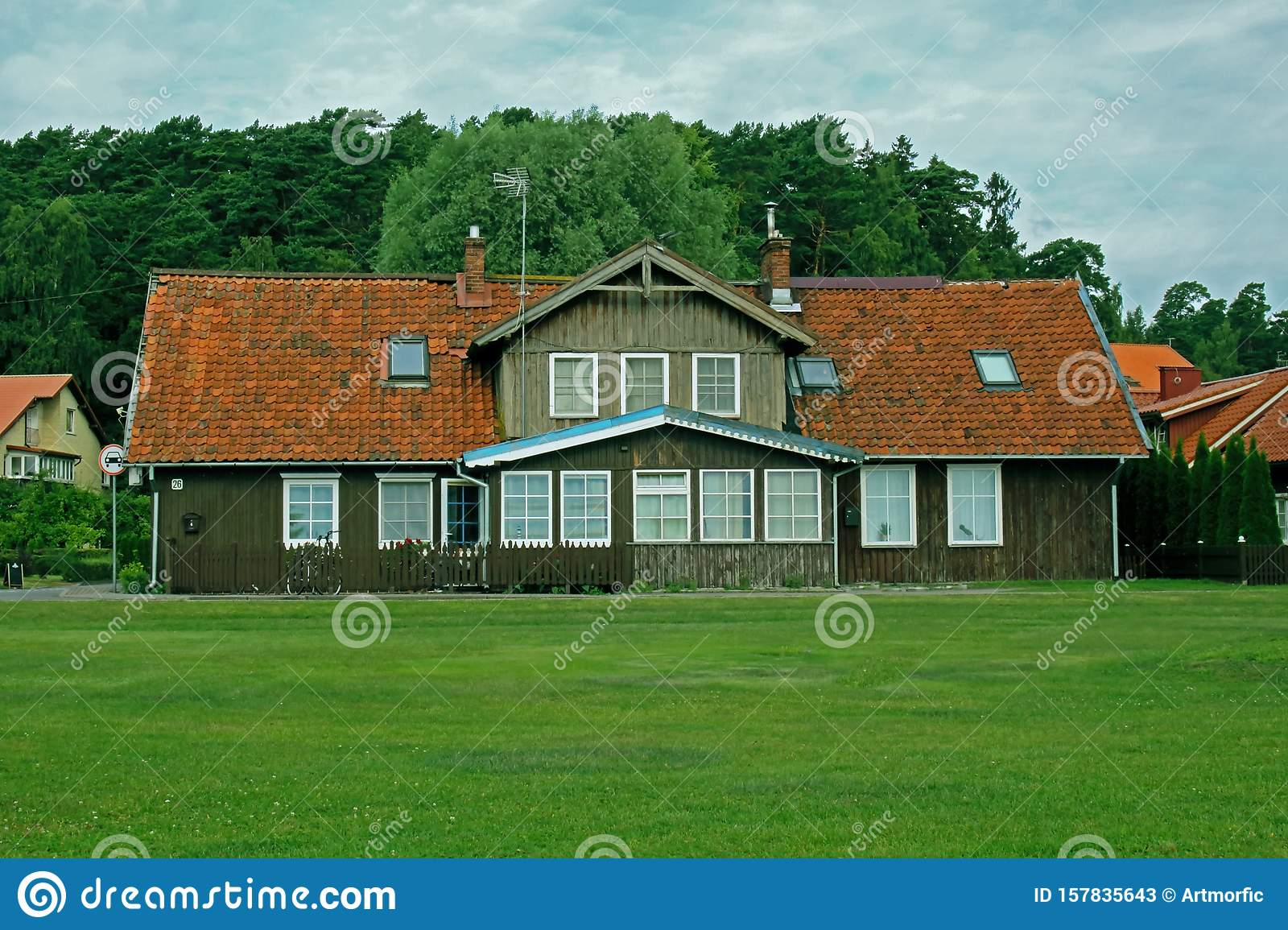Old Village Wooden House Front Yard With Red Roof And Forest Behind Stock Image Image Of Background Holiday 157835643