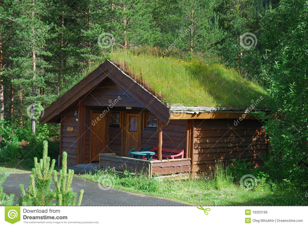 Scandinavian Camping Is Photographed In Summer There Small House