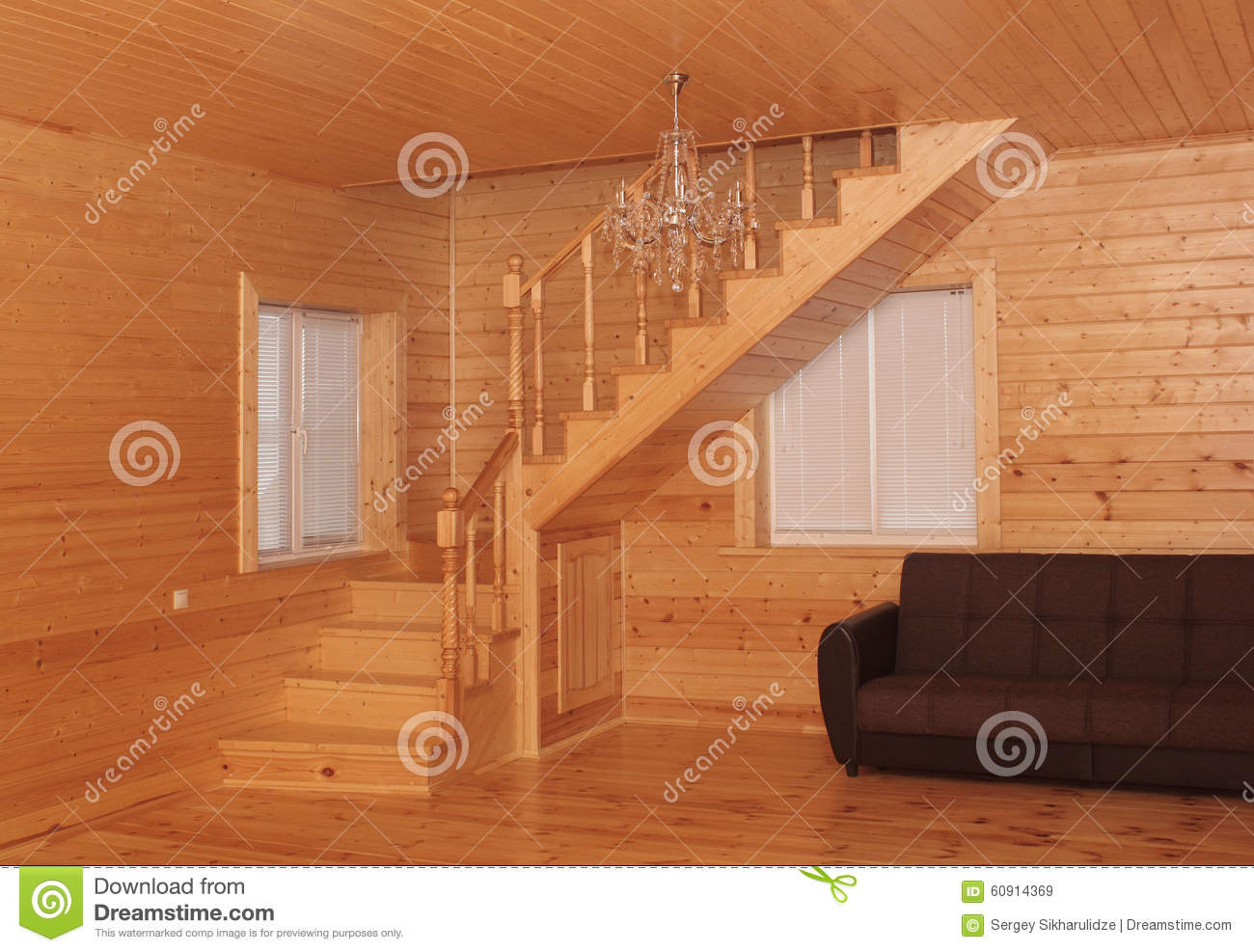 Wooden house interior corner stairs and sofa stock image - Sofas en esquina ...