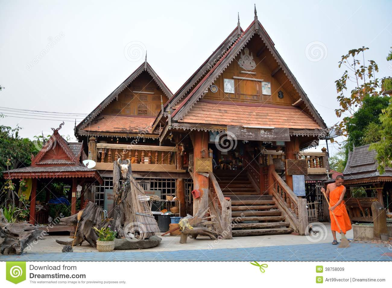 Wooden house lanna editorial stock image image of for Small house design thailand