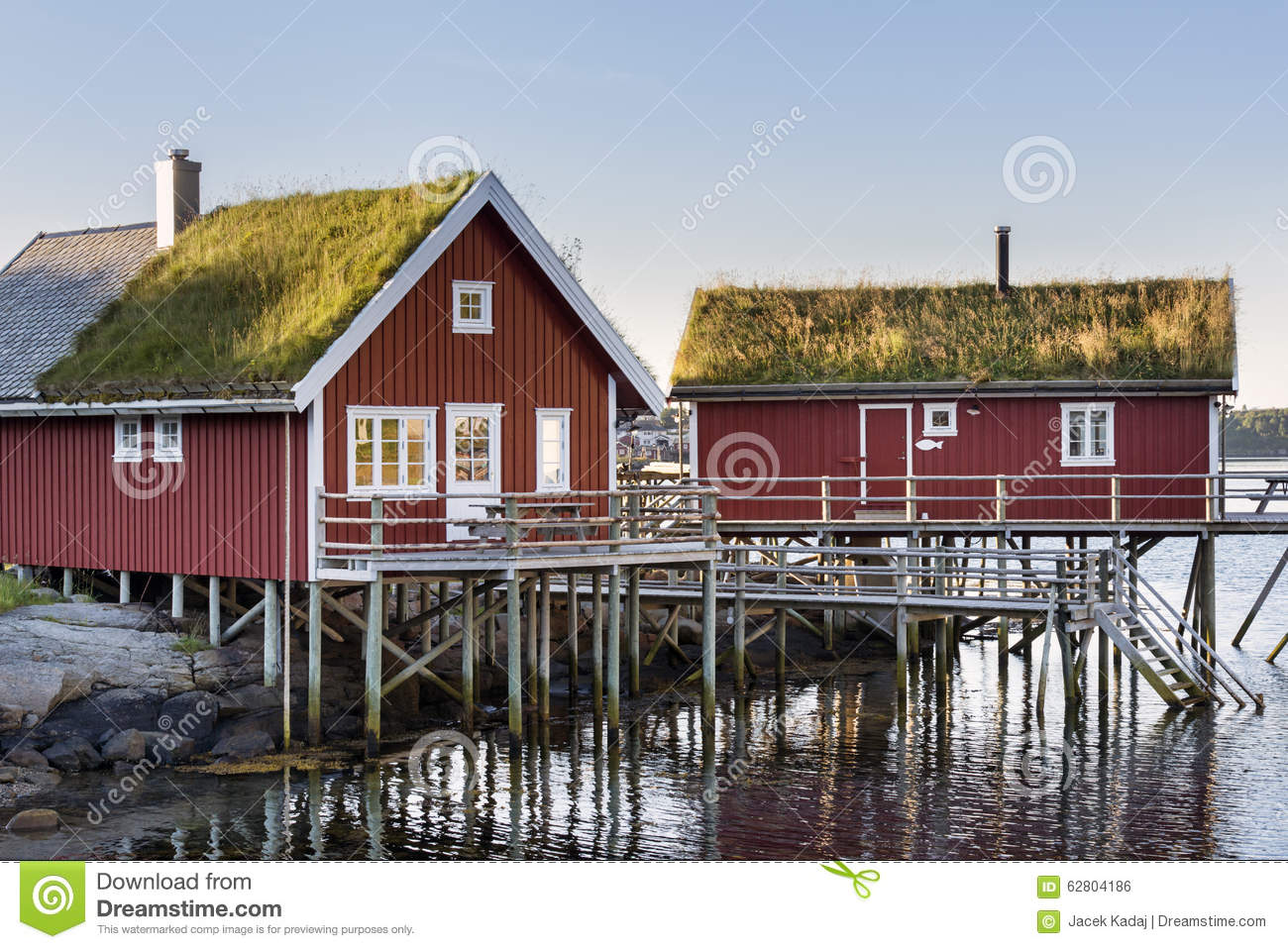 Wooden house at the lofoten archipelago norway stock for Norway wooden houses
