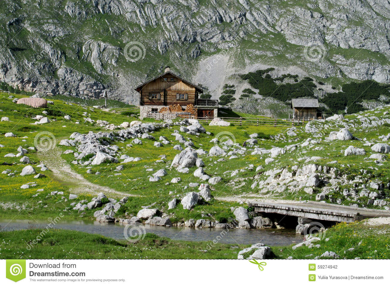 Wooden house in the mountains near river and bridge stock for Mountain bridge floor plans