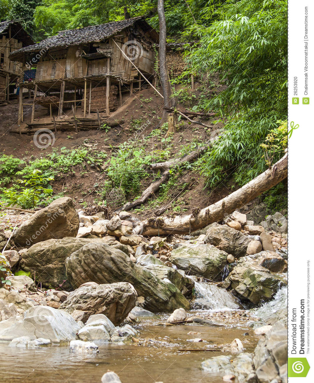 Wooden House Near Small Waterfall Stock Photo Image 26253920