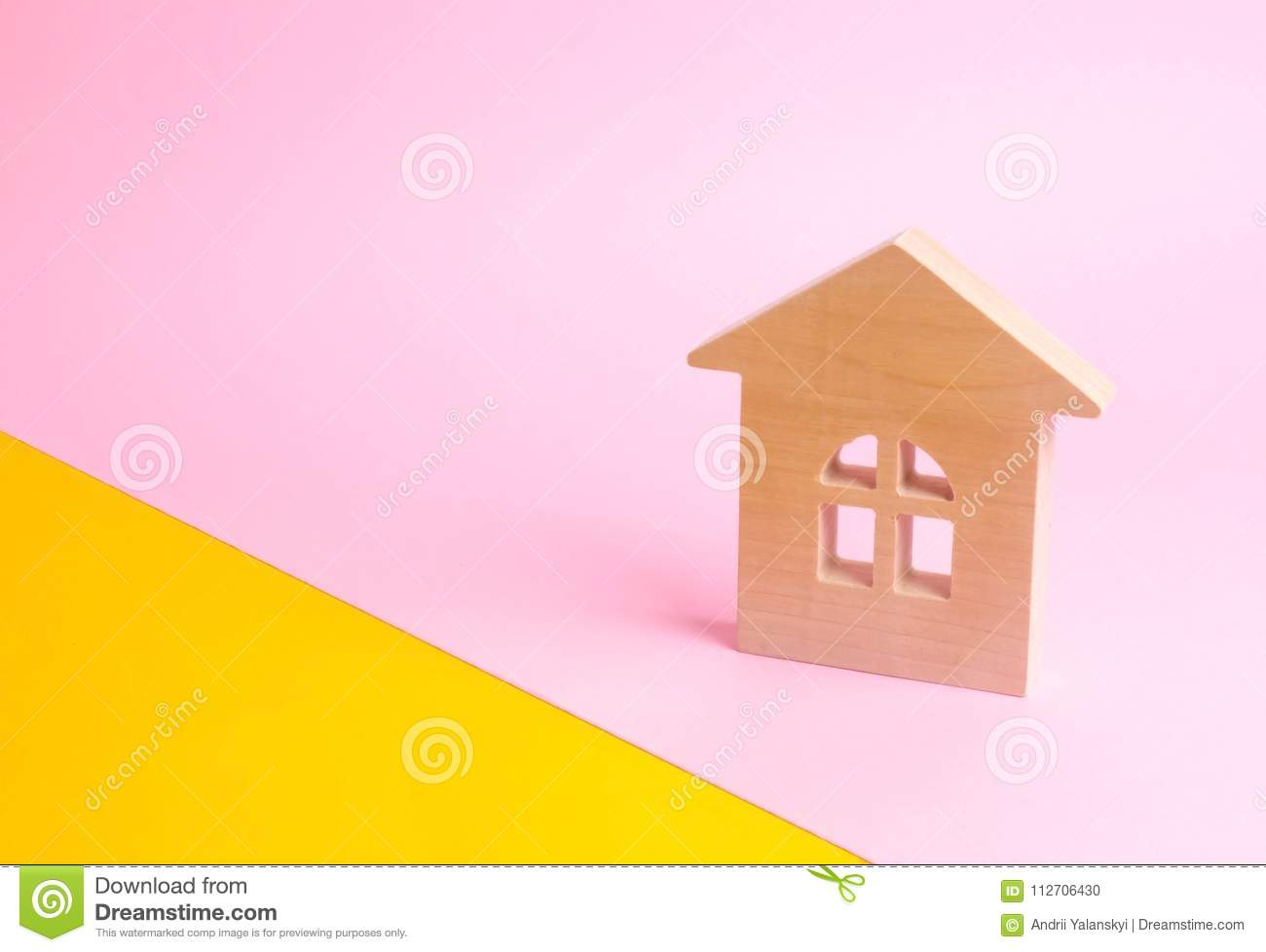 A Wooden House On A Pink Background In Pop Style. The Concept Of ...