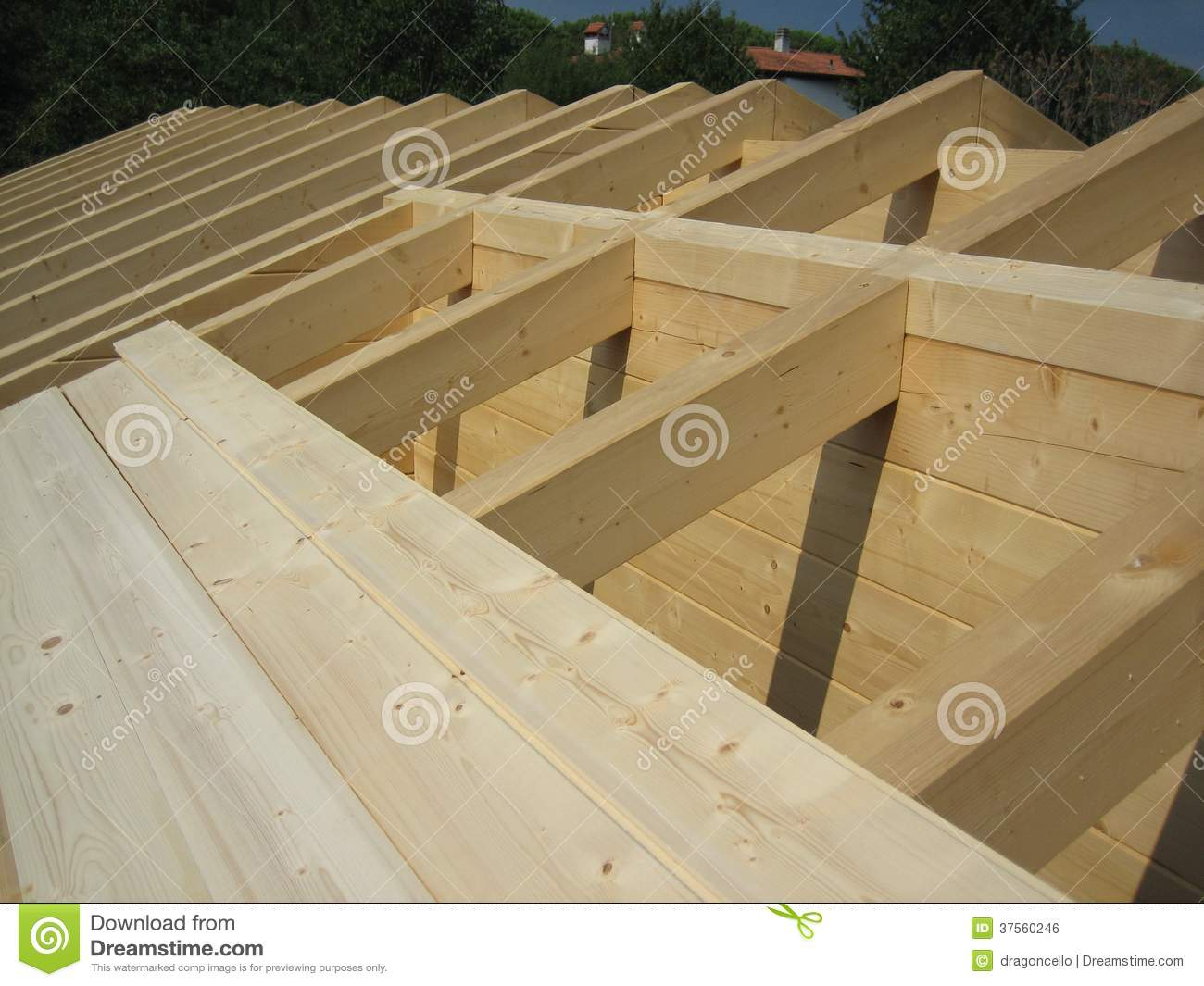 Wooden House Roof Construction Stock Photo Image 37560246