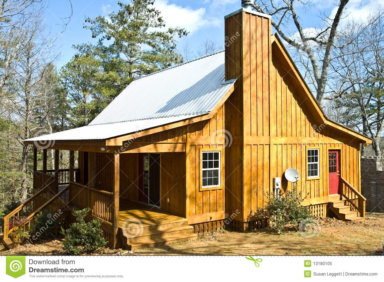 Wooden house with tin roof royalty free stock photo for Tin roof house designs