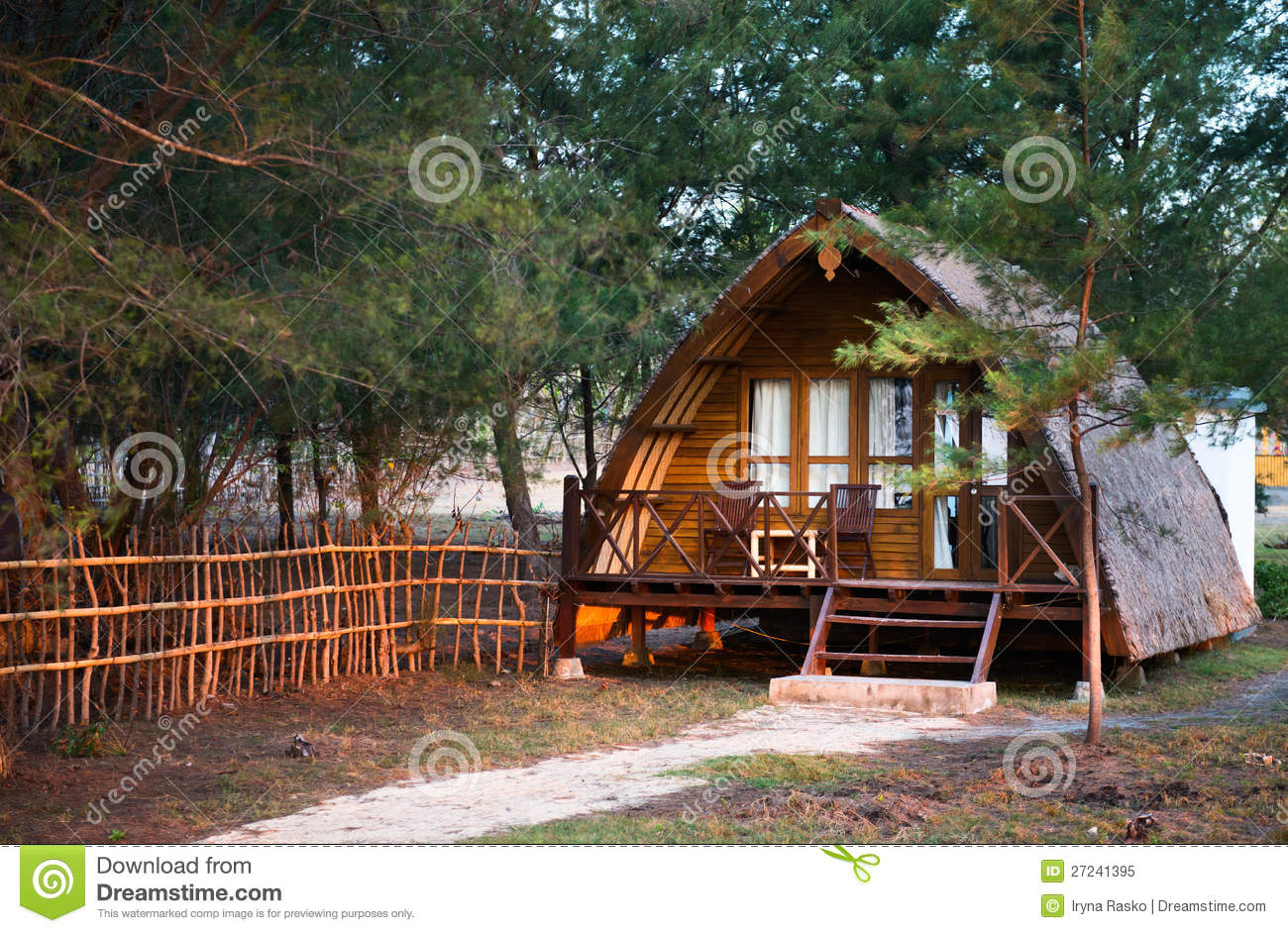 Wooden house in traditional indonesian style royalty free for Wooden home plans