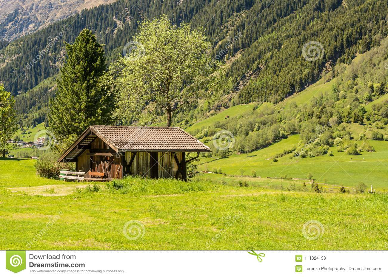 Wooden house typical in a alps village on Ridnaun Valley/Ridanna Valley - Racines country - near Sterzing/Vipiteno, South Tyrol, n