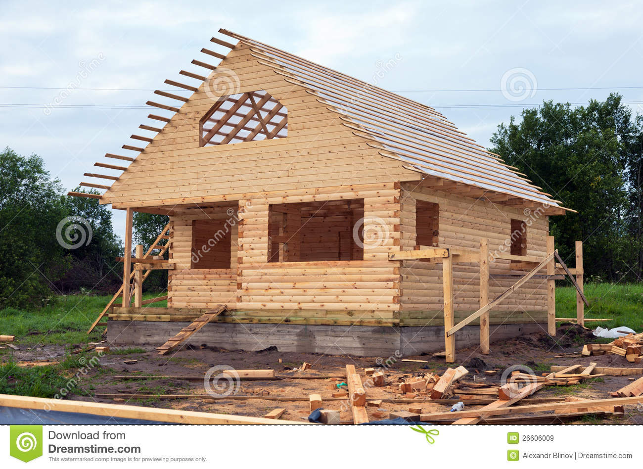 Wooden house under construction stock image image 26606009 for Dream wooden house