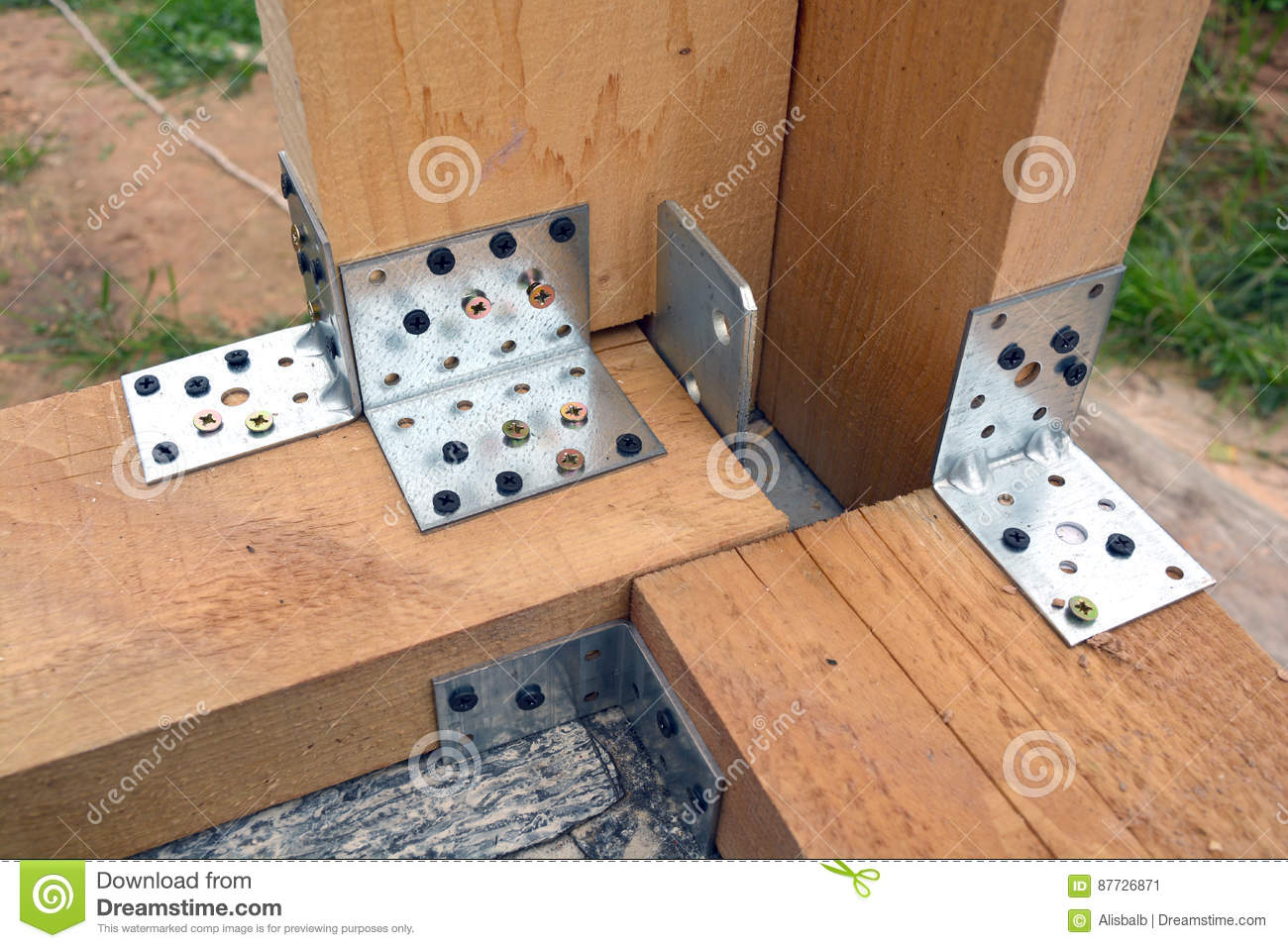Wooden House Wall Frame Corner Construction Stock Image - Image of ...