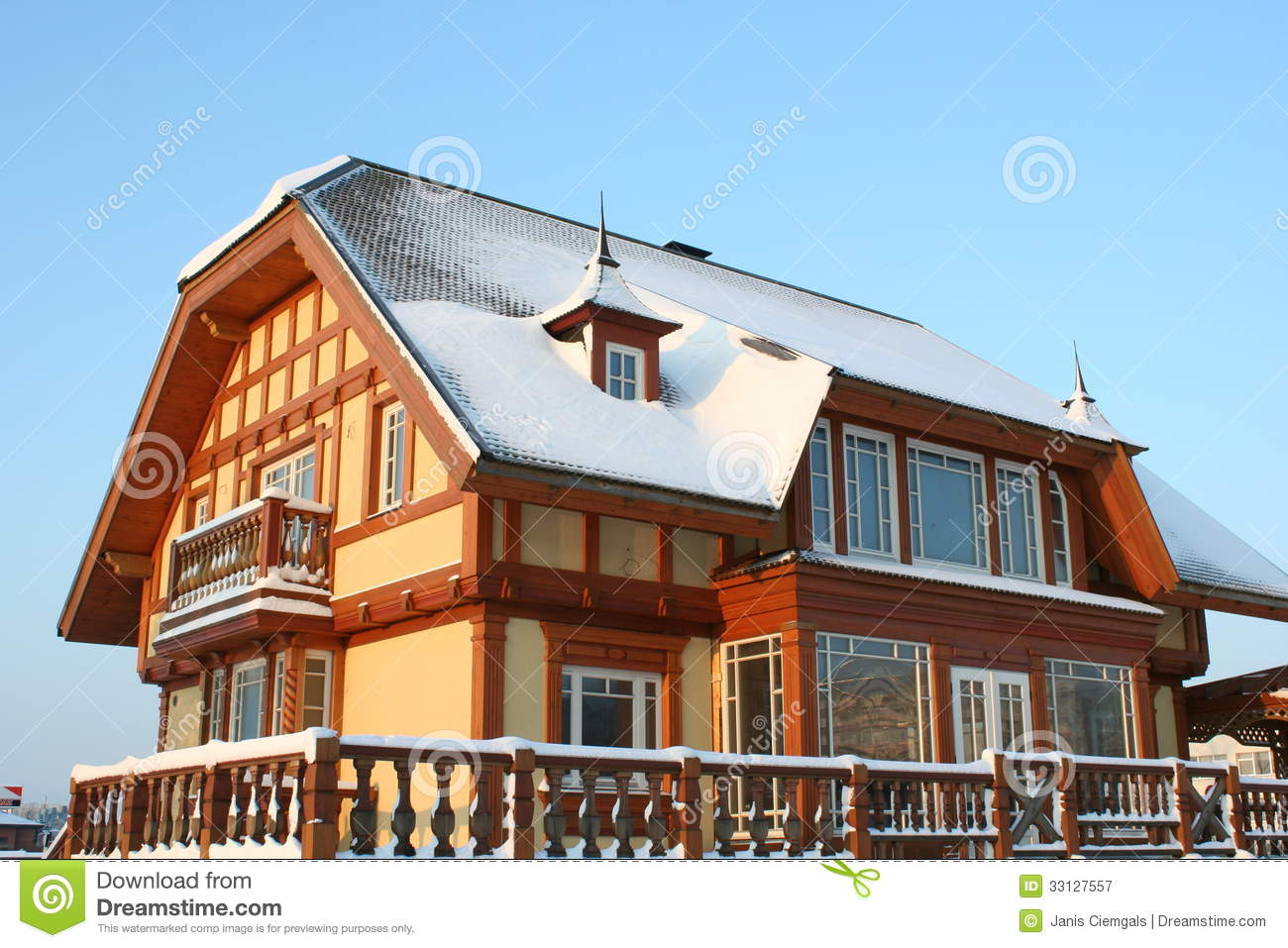 Wooden house winter