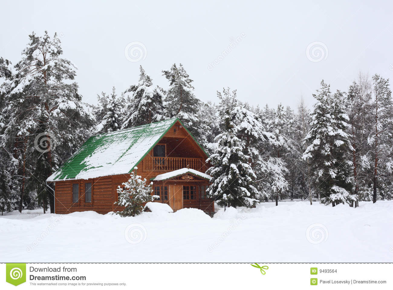 Wooden house in winter wood stock images image 9493564 for Wood house images
