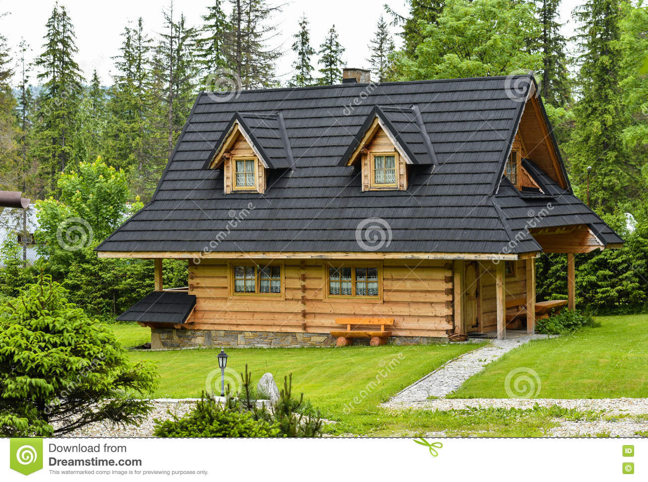 Wooden House In Zakopane Tatra Mountains Stock Photo Image 73807195