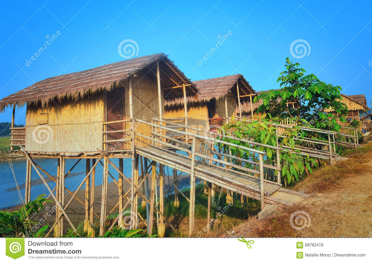 Wooden houses built on high stilts called in chitwan stock photo image 68762419 - Houses built inhours ...