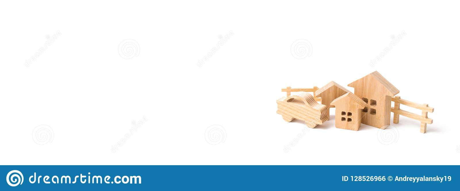 wooden houses and car on a white background the concept of