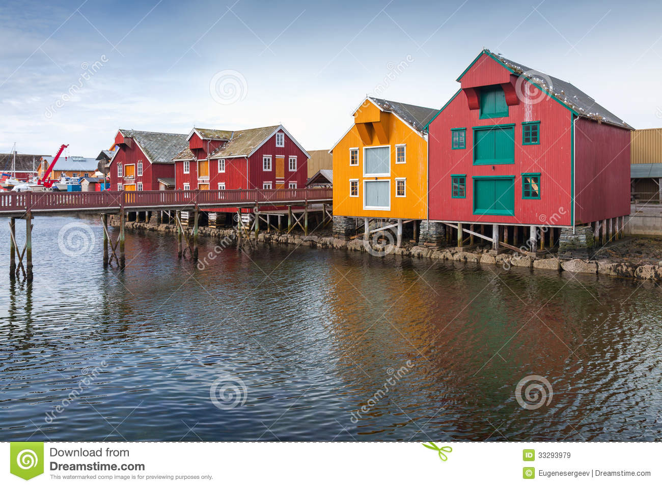 Wooden houses in coastal norwegian village royalty free for Norway wooden houses