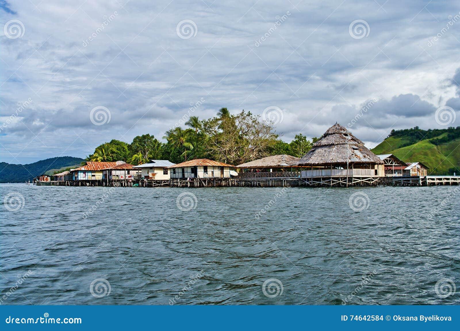 Wooden houses on lake Sentani, on New Guinea
