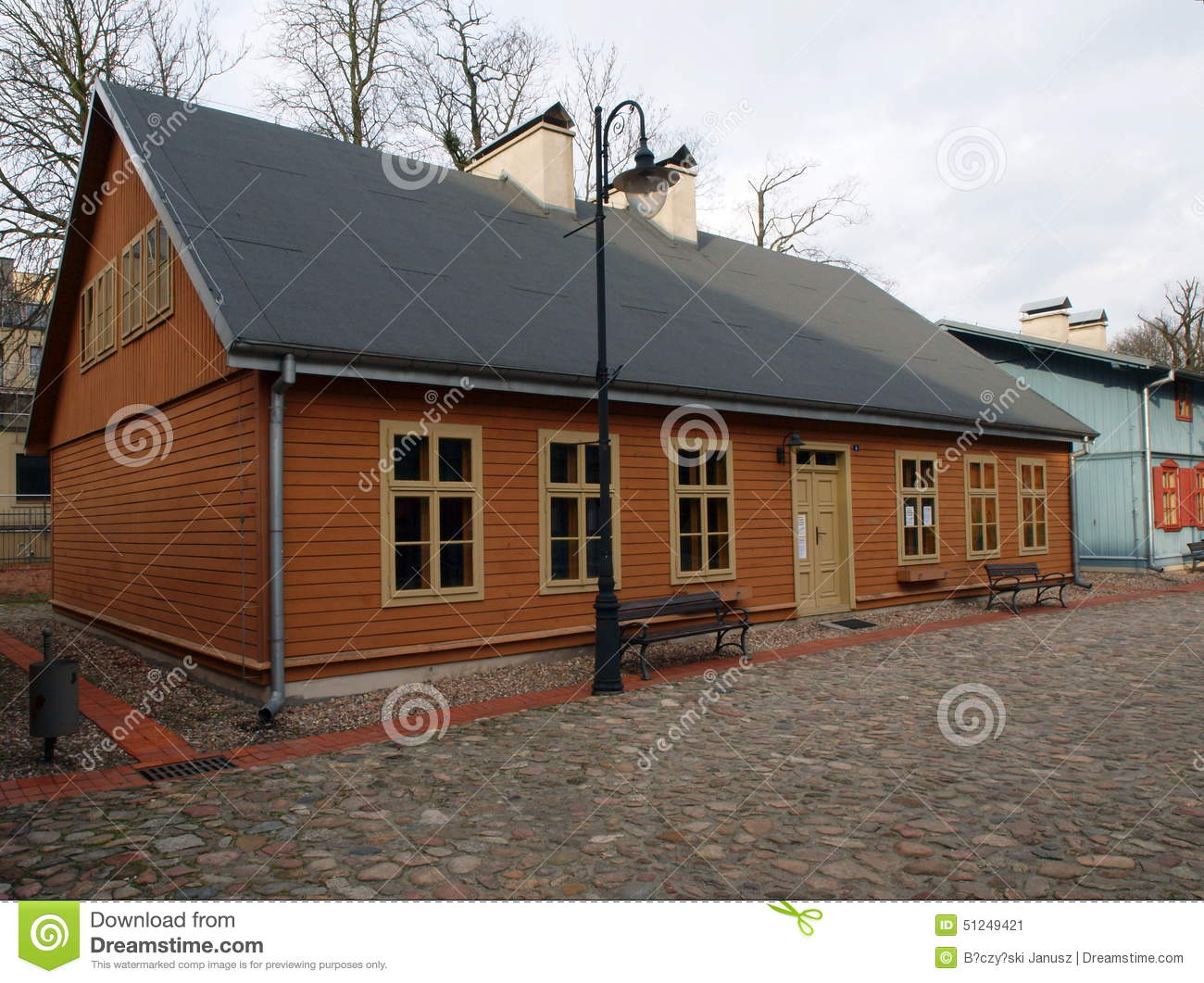 Wooden Houses Lodz Factory Stock Photo Image 51249421