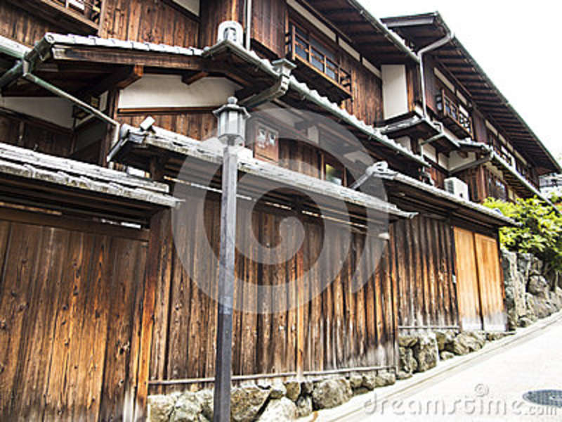 Wooden houses in old Gion