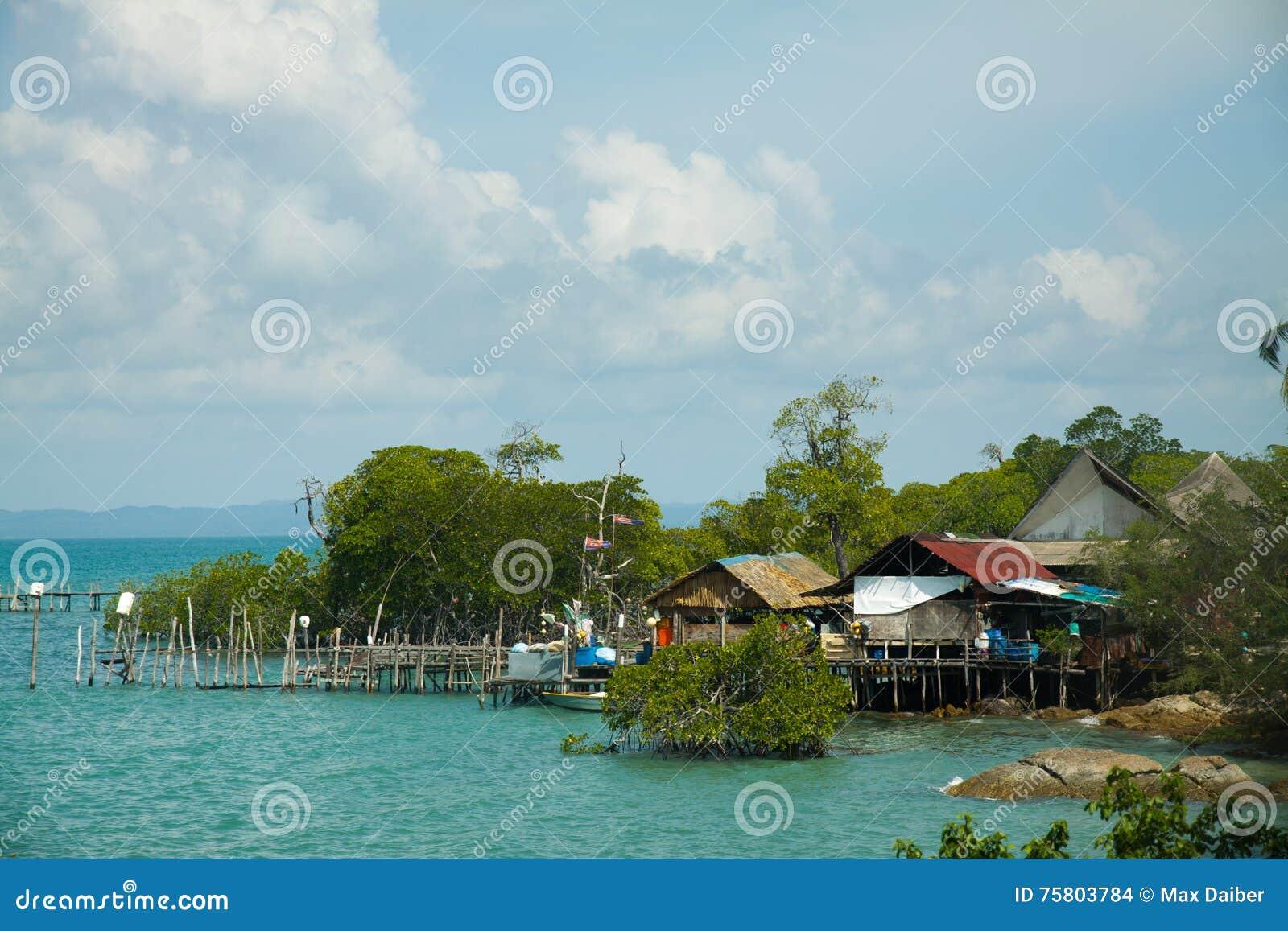 Wooden houses on piles pulau Sibu, Malaysia