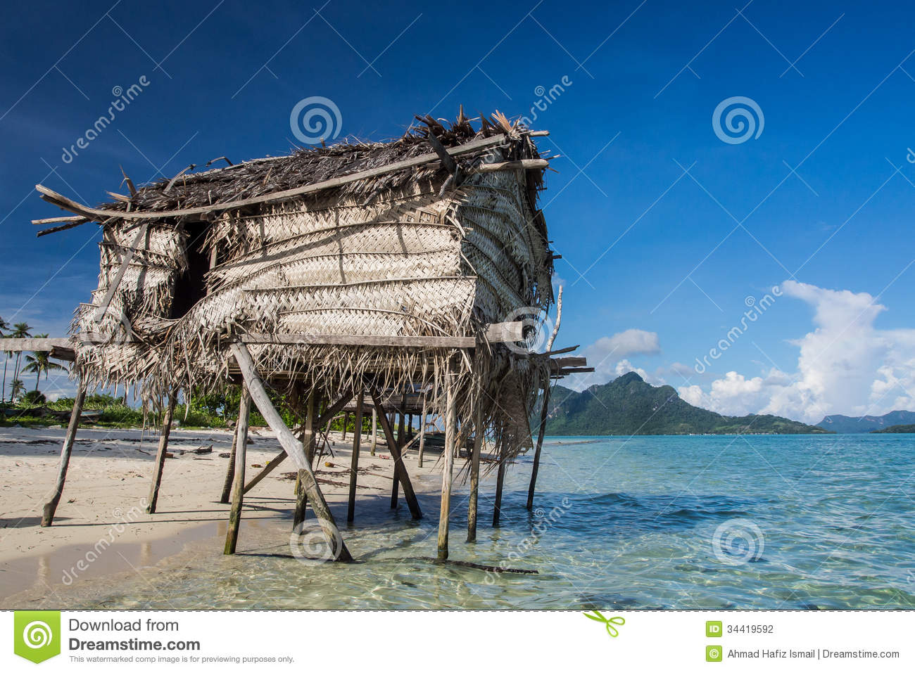 Wooden Houses on stilts Floating on the ocean