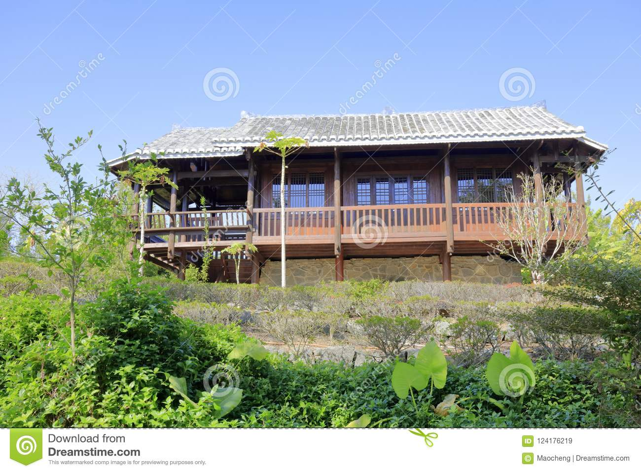 Wooden house on stilt in the yuanboyuan park xiamen city fujian province china this is a common residence for primitive people