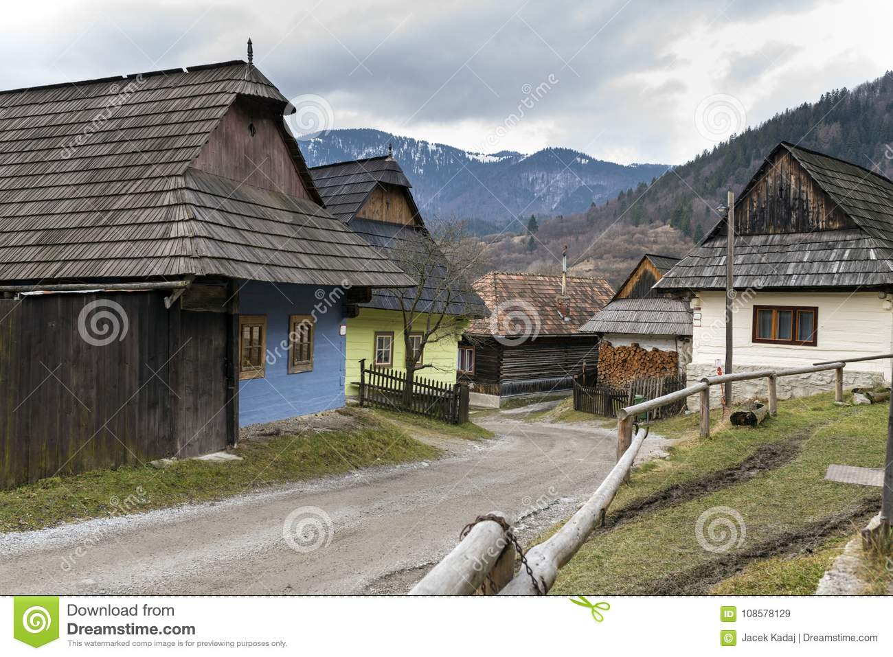 Wooden houses in Vlkolinec village, Slovak republic