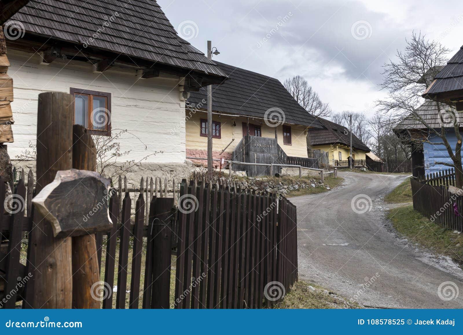 Wooden houses in Vlkolinec village, Slovak republic