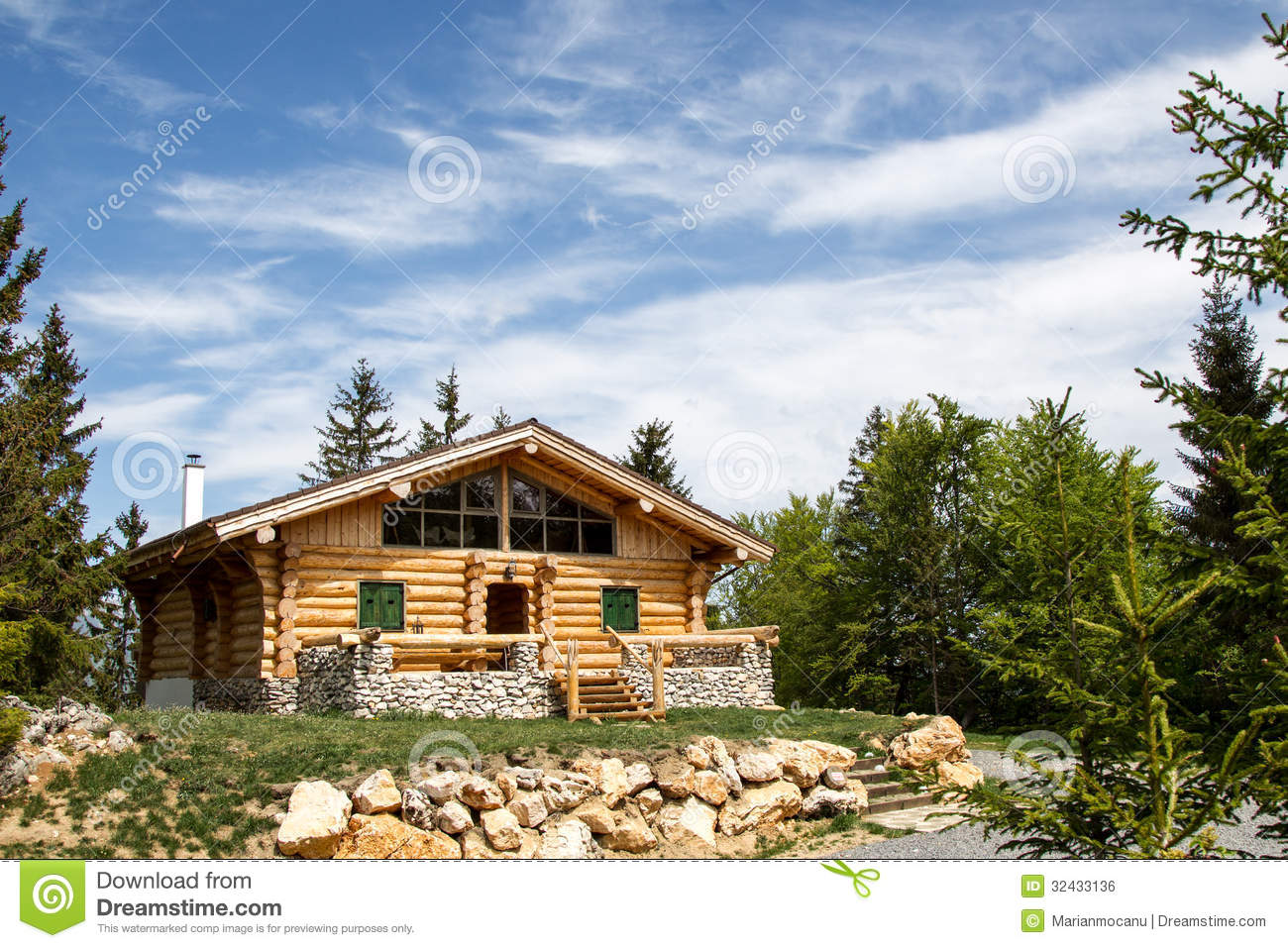 wooden hut near mountain - photo #12